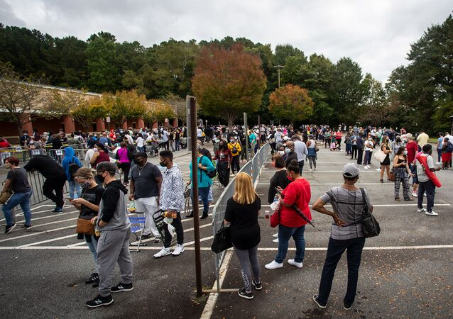 Hundreds of people wait in line for early voting on 12 October 2020, in Marietta, Georgia
