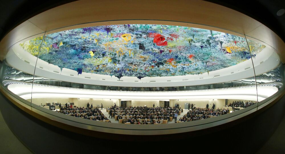 FILE PHOTO: Overview of the session of the Human Rights Council during the speech of UN High Commissioner for Human Rights Michelle Bachelet at the United Nations in Geneva, Switzerland, 27 February 2020