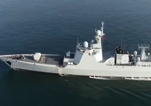 Chinese Navy destroyer (Hull 121) conducts exercises featuring main gun shooting and damage control in October 2020