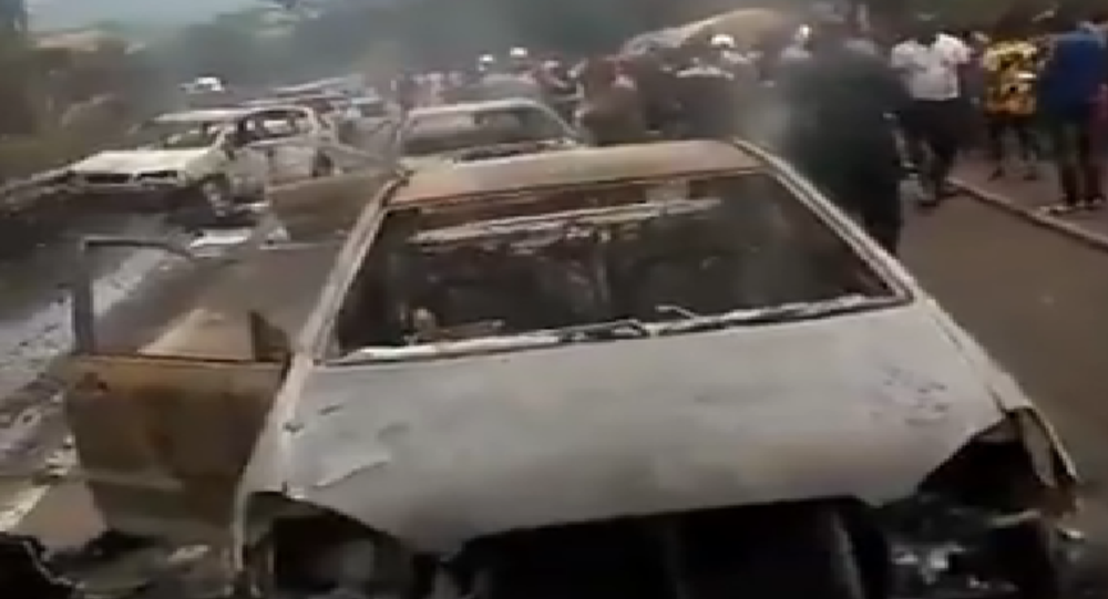 Aftermath of tanker truck explosion in Nigeria.
