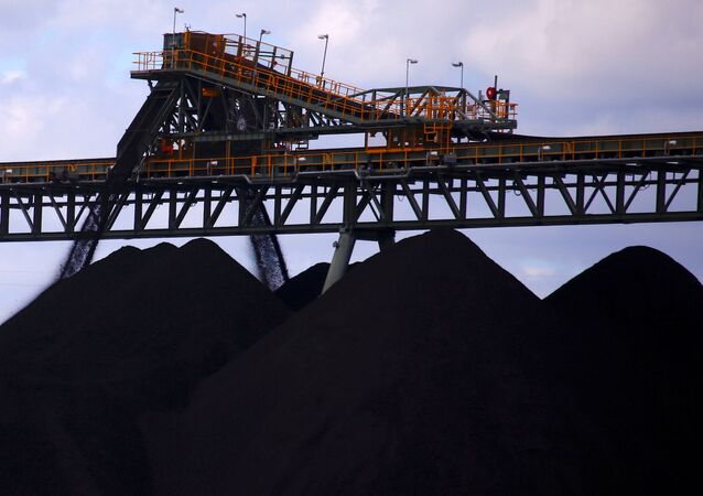 Coal is piled up at the Ulan mine near the New South Wales town of Mudgee in the Australian outback.