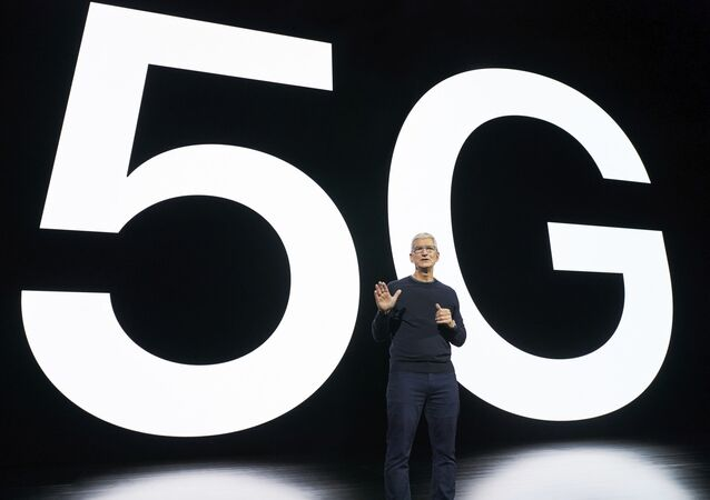 In this photo released by Apple, Tim Cook, chief executive of the software giant, speaks about 5G during an Apple event at Apple Park in Cupertino, California on 13 October 2020.