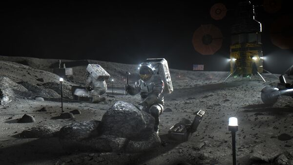 This illustration made available by NASA in April 2020 depicts Artemis astronauts on the Moon. - Sputnik International