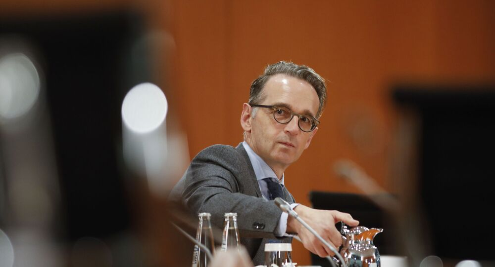 German Foreign Minister Heiko Maas attends the weekly cabinet meeting of the German government at the chancellery in Berlin, Germany, Wednesday, Oct. 7, 2020
