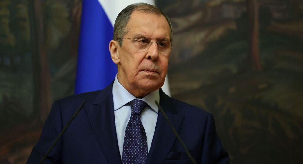 Russia's Foreign Minister Sergei Lavrov attends a news conference following a meeting with Iran's Foreign Minister Mohammad Javad Zarif in Moscow, Russia September 24, 2020.
