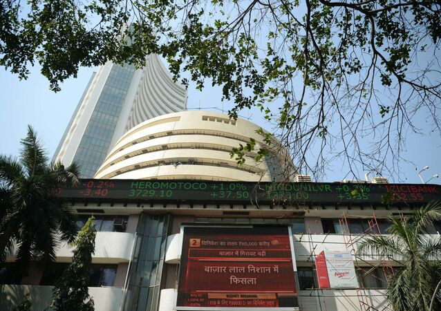A live ticker shows 30 share index (Sensex) on the facade of the Bombay Stock Exchange (BSE) in Mumbai on February 1, 2018.