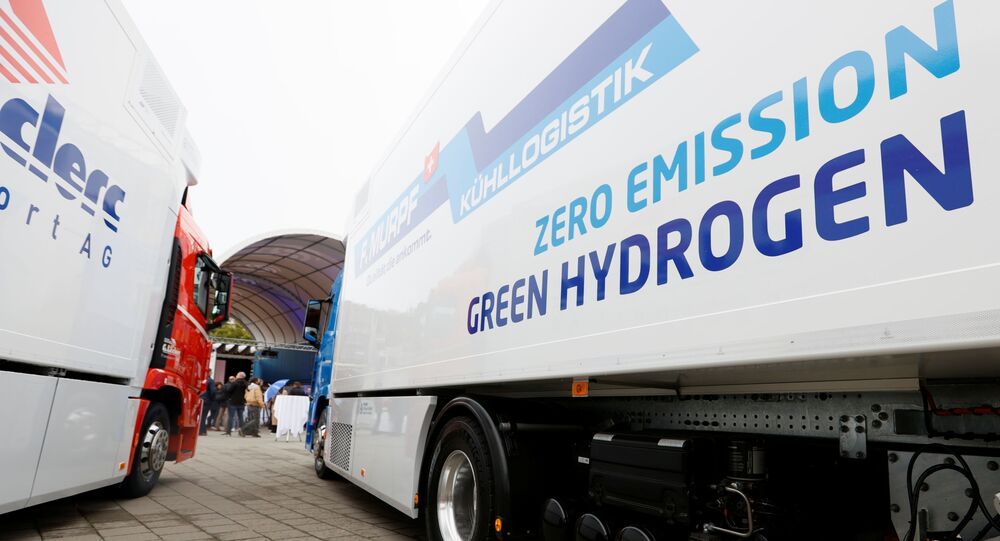 A new hydrogen fuel cell truck made by Hyundai is pictured ahead of a media presentation for the zero-emission transport of goods at the Verkehrshaus Luzern (Swiss Museum of Transport) in Luzern, Switzerland October 7, 2020