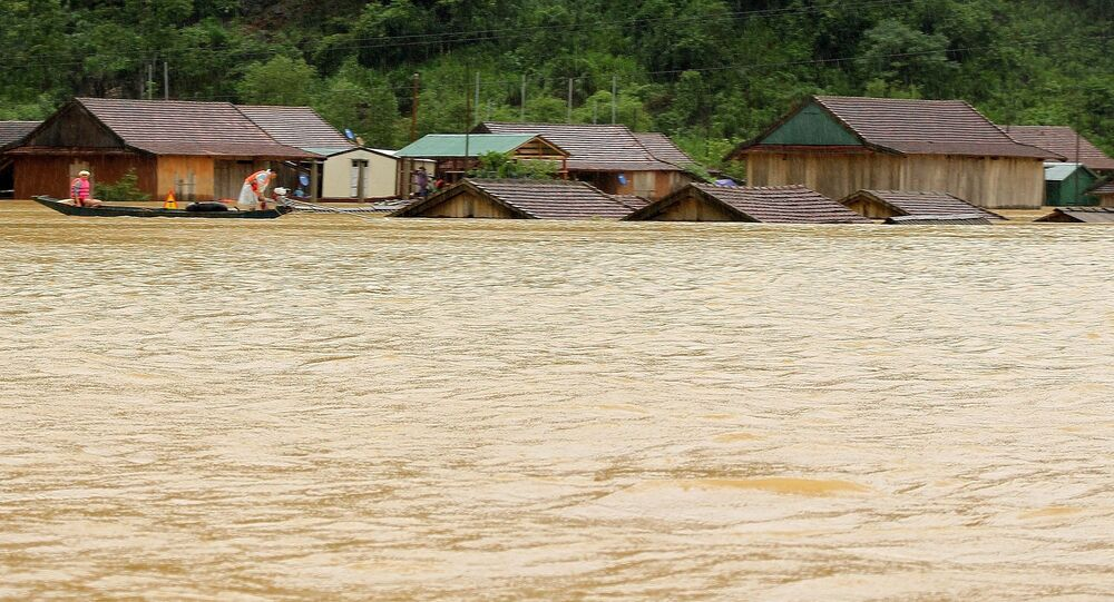 Houses flooded after heavy rains in Quảng Bình Province in Central Vietnam