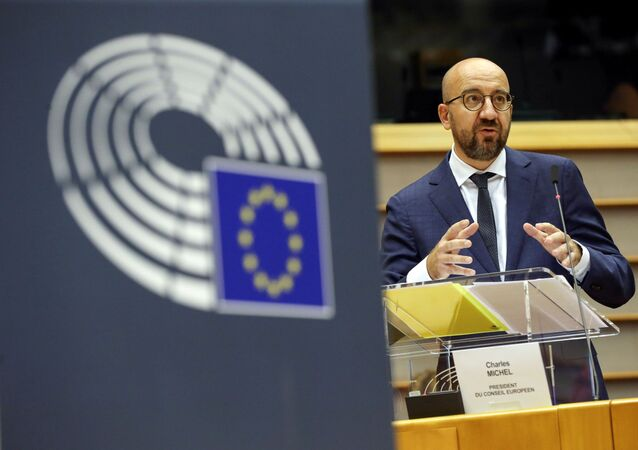 European Council President Charles Michel delivers a speech during a plenary session on the conclusions of the extraordinary European Council meeting at the European Parliament in Brussels, Belgium July 23, 2020.