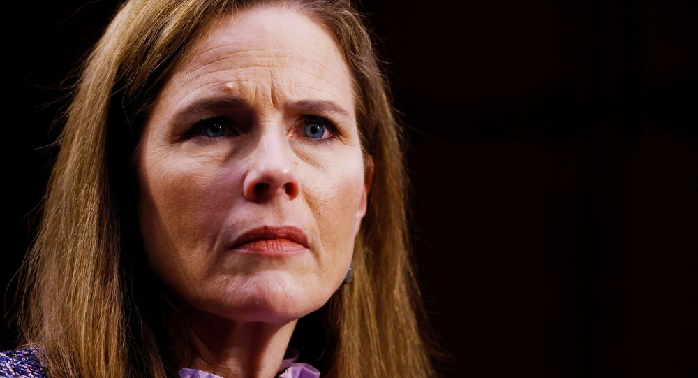 Judge Amy Coney Barrett attends the third day of her Senate confirmation hearing to the Supreme Court on Capitol Hill in Washington, DC, U.S., October 14, 2020