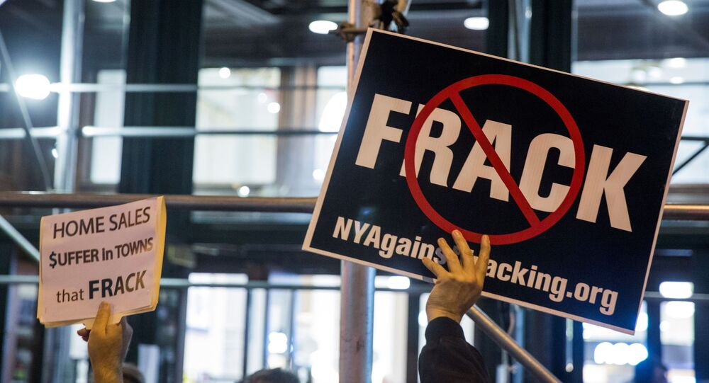 Protesters demonstrate against fracking in New York, October 15, 2014