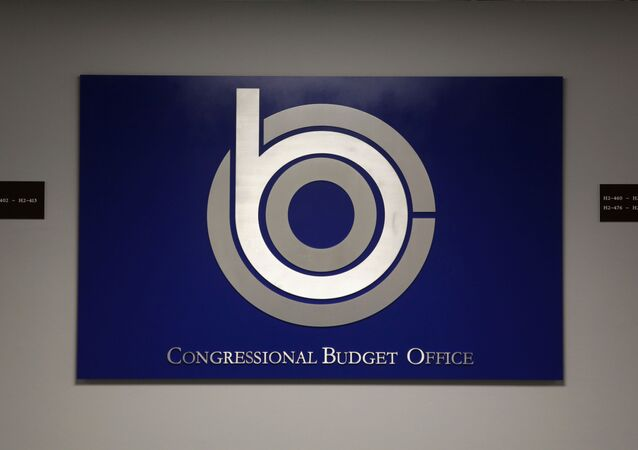 Its sign is seen st the office of Congressional Budget Office August 27, 2014 in Washington, DC.