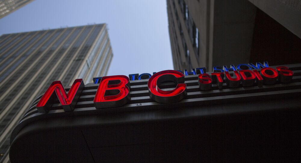 FILE - This May 10, 2017, file photo shows an NBC logo at their television studios at Rockefeller Center in New York