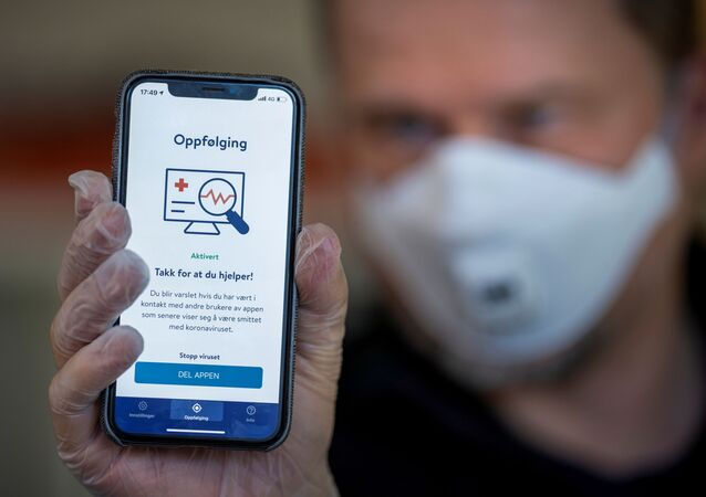 FILE PHOTO: The National Institute of Public Health's new app Smittestopp (Infection Stop) for infection tracking is pictured, in Oslo, Norway April 16, 2020. Picture taken April 16, 2020