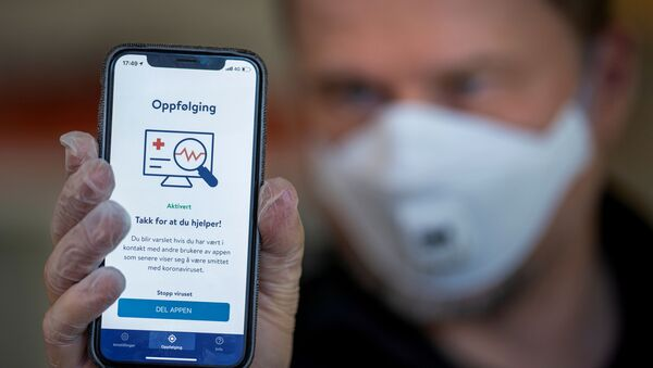 FILE PHOTO: The National Institute of Public Health's new app Smittestopp (Infection Stop) for infection tracking is pictured, in Oslo, Norway April 16, 2020. Picture taken April 16, 2020 - Sputnik International