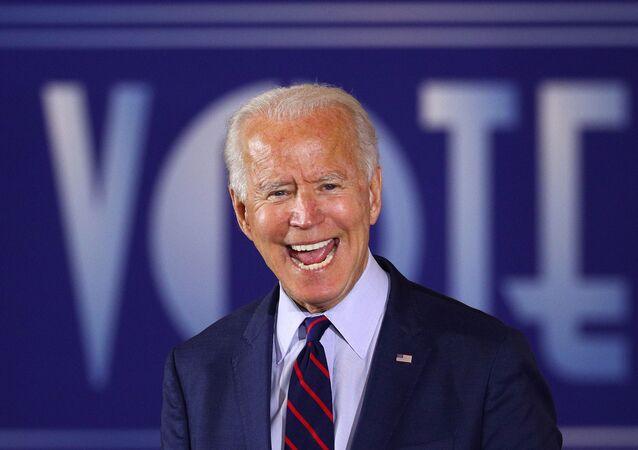 US Democratic presidential candidate Joe Biden delivers remarks during a Voter Mobilization Event campaign.
