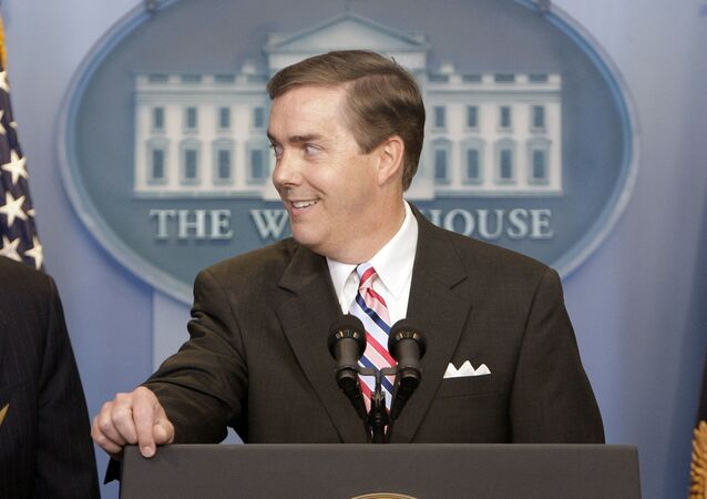 FILE - White House Correspondents Association President Steve Scully appears at a ribbon-cutting ceremony for the James S. Brady Press Briefing Room at the White House in Washington on July 11, 2007.  C-SPAN suspended its political editor Steve Scully indefinitely after he admitted to lying about having his Twitter account hacked. A week ago, when Scully was questioned about a message he had sent to former Trump aide Anthony Scaramucci seeking advice, Scully claimed that someone had gotten into his account and done that. (AP Photo/Ron Edmonds, File)