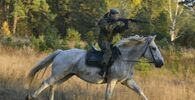 Cadet from the Ryazan Guards Higher Airborne Command School during horse riding practice.