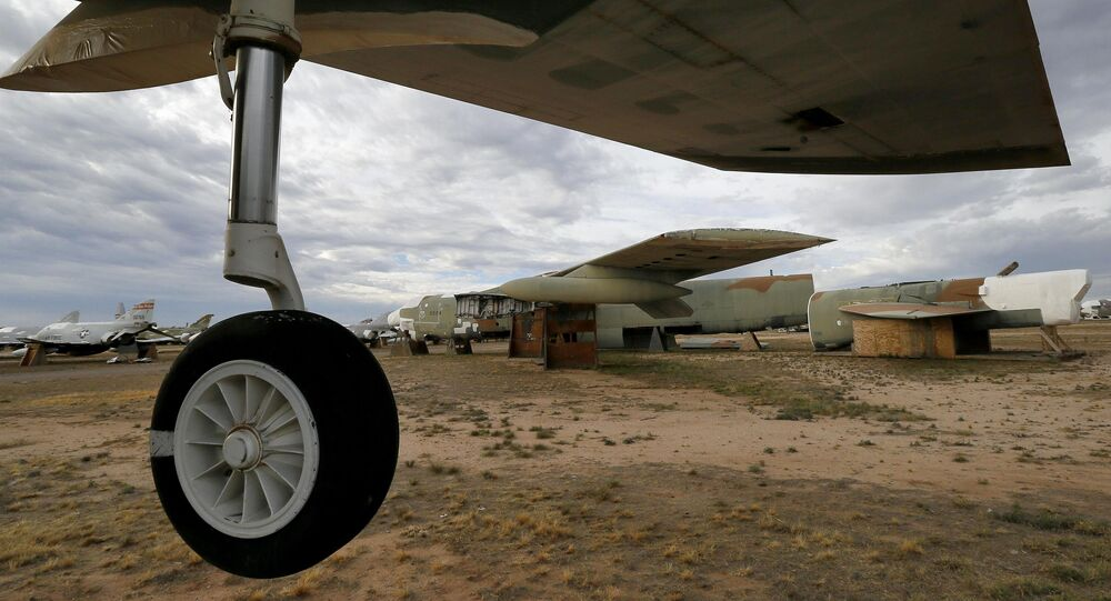 The 39th and final B-52G Stratofortress, tail number 58-0224, accountable under the New START Treaty (Strategic Arms Reduction Treaty) with Russia, is shown at the 309th Aerospace Maintenance and Regeneration Group boneyard Thursday, May 21, 2015 at Davis-Monthan Air Force Base in Tucson, Ariz. The United States cut the tails off 39 B-52G's in order to remove them from treaty accountability, as they still count as nuclear-capable delivery platforms with their tails attached. The tails are angled at 30 degrees so Russian satellites can view compliance. Tail number 58-0224, nicknamed Sweet Tracy, flew combat missions over North Vietnam in Operation Linebacker II, which began Dec. 18, 1972 and lasted 11 nights. This particular B-52G, 58-0224, targeted the Yen Vien Railroad Yards and the Hanoi Railroad Repair Yards. At the time, bomber was stationed in Guam.