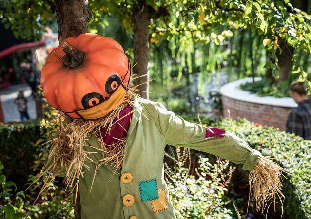 Halloween decorations are seen at Tivoli Gardens in Copenhagen during the Danish giant pumpkin championships, 10 October 2020.