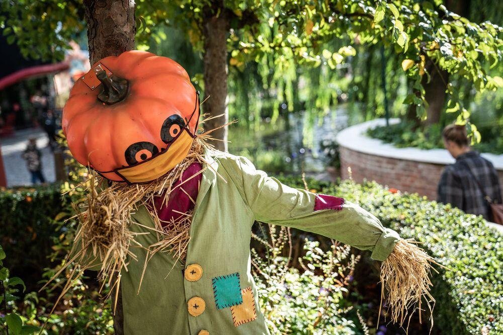 Halloween decorations are seen at Tivoli Gardens in Copenhagen during the Danish Championships in giant pumpkins, held in Copenhagen, on 10 October 2020.