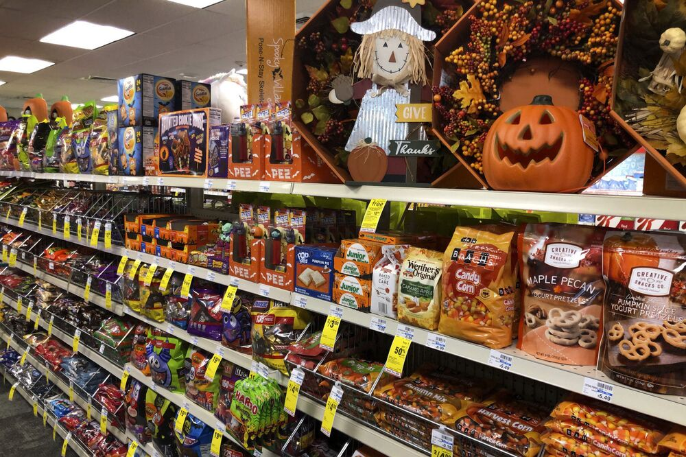 Halloween candy and decorations are displayed at a store, Wednesday, 23 September 2020, in Freeport, Maine.