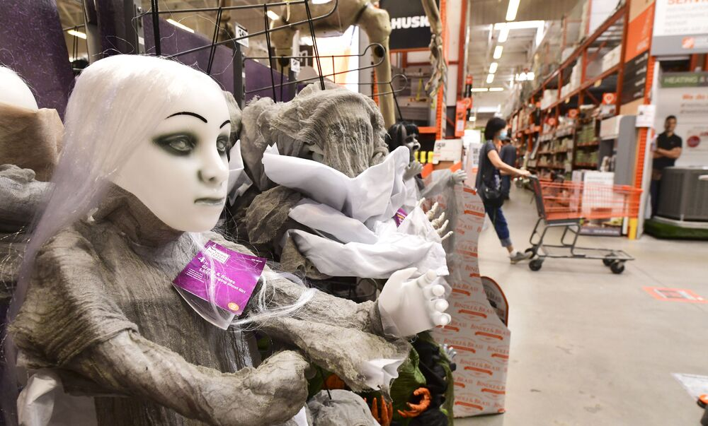 Halloween items for sale at a home improvement retailer store in Alhambra, California on 9 September 2020.