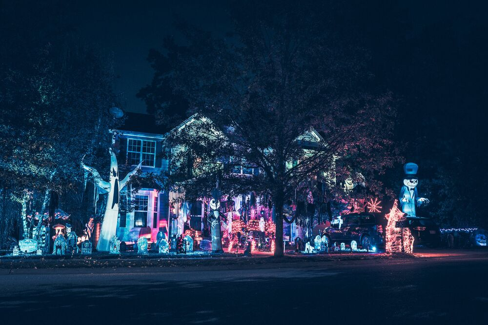 A house with Halloween lighting in a suburb of New York.