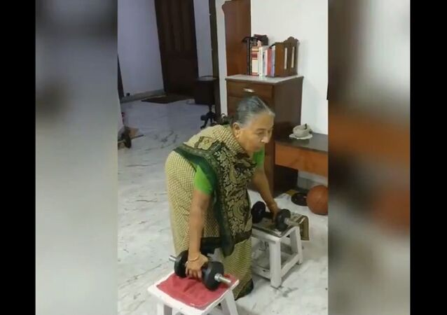 82-year old- granny lifting weights