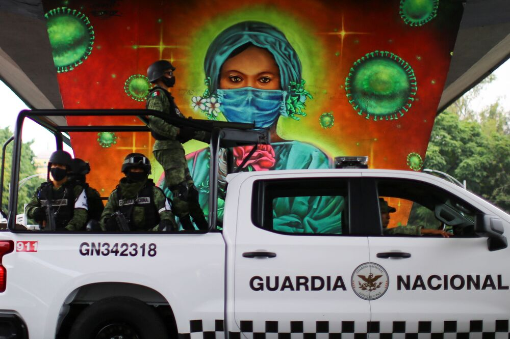 A mural honouring health workers is pictured under a bridge as the coronavirus disease (COVID-19) outbreak continues, in Mexico City, 24 September 2020.
