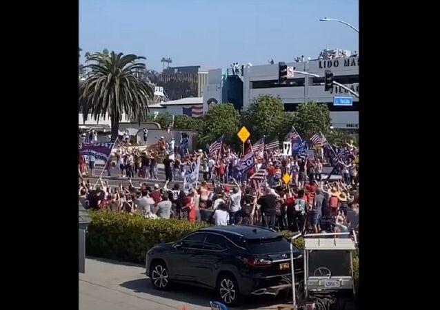 Massive crowd of Trump supporters in Orange County, CA.