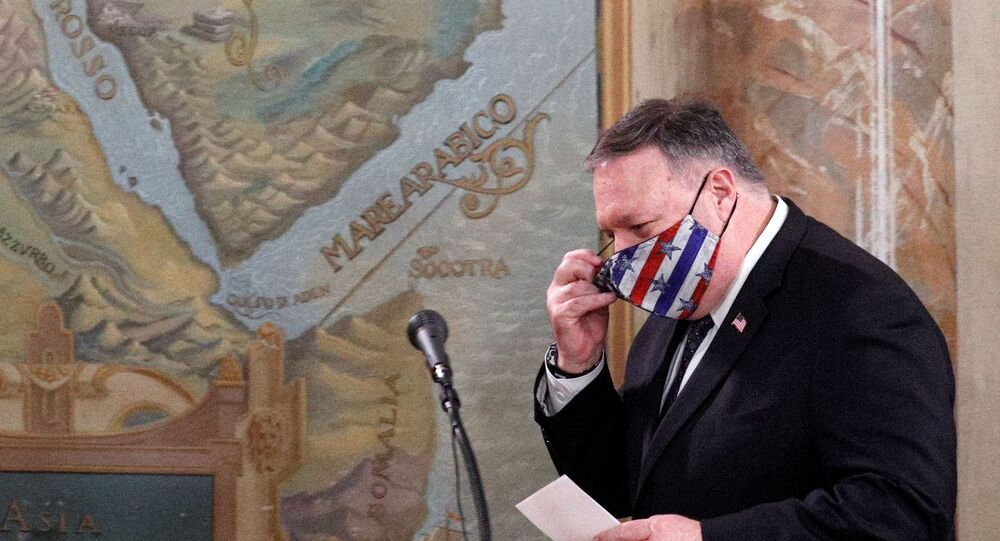 US Secretary of State Mike Pompeo attends the Mining, Agriculture, and Construction (MAC) Protocol Signing Ceremony, at Villa San Sebastiano, in Rome, Italy, 1 October 2020.