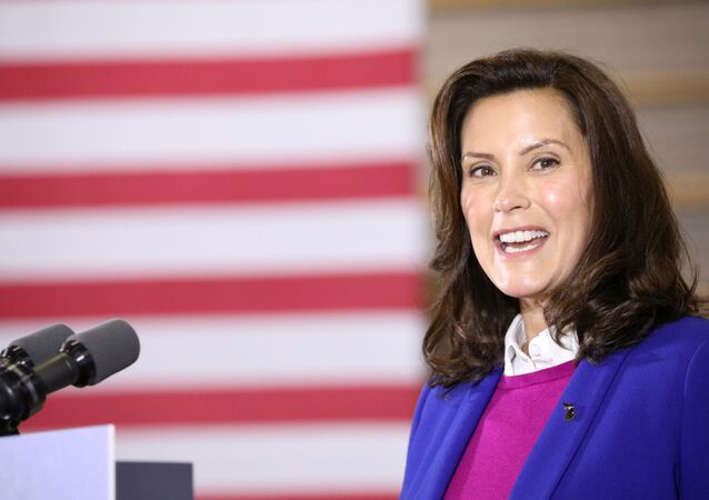 Michigan Governor Gretchen Whitmer (D-MI) speaks during an event with U.S. Democratic presidential candidate Joe Biden (not pictured) at the Beech Woods Recreation Center in Southfield, Michigan, U.S. , October 16, 2020.