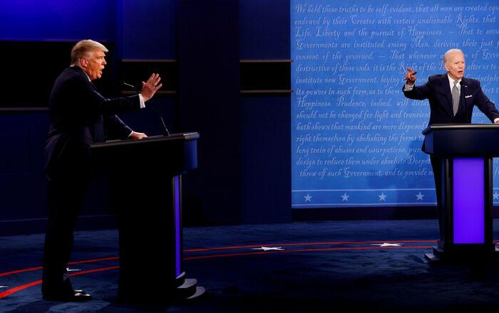 FILE PHOTO: FILE PHOTO: U.S. President Donald Trump and Democratic presidential nominee Joe Biden participate in their first 2020 presidential campaign debate in Cleveland