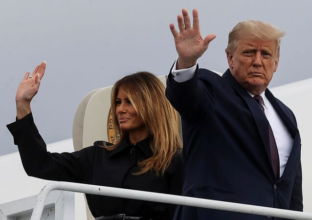 FILE PHOTO - US President Donald Trump and first lady Melania Trump board Air Force One after attending the 19th annual 11 September observance at the Flight 93 National Memorial as they depart John Murtha Johnstown-Cambria County Airport in Johnstown, Pennsylvania