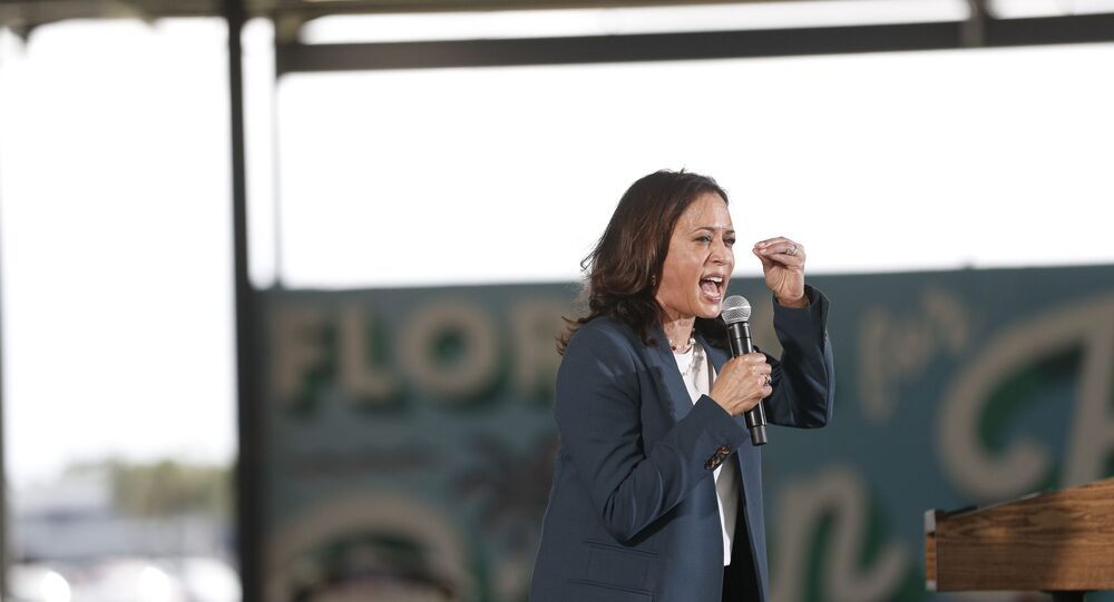 ORLANDO, FL - OCTOBER 19: Democratic U.S. Vice Presidential nominee Sen. Kamala Harris (D-CA) speaks during an early voting mobilization event at the Central Florida Fairgrounds on October 19, 2020 in Orlando, Florida.