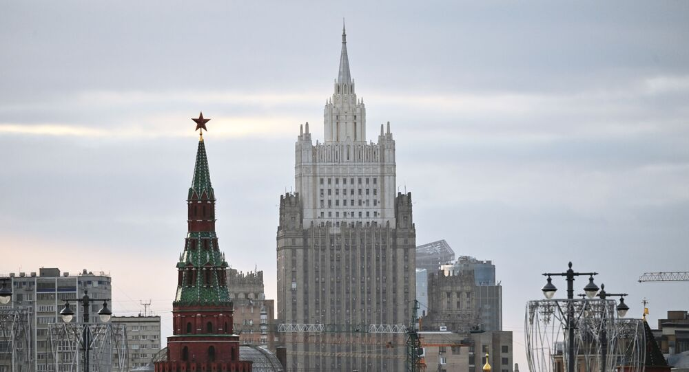 The building of the Ministry of Foreign Affairs of the Russian Federation in Moscow.