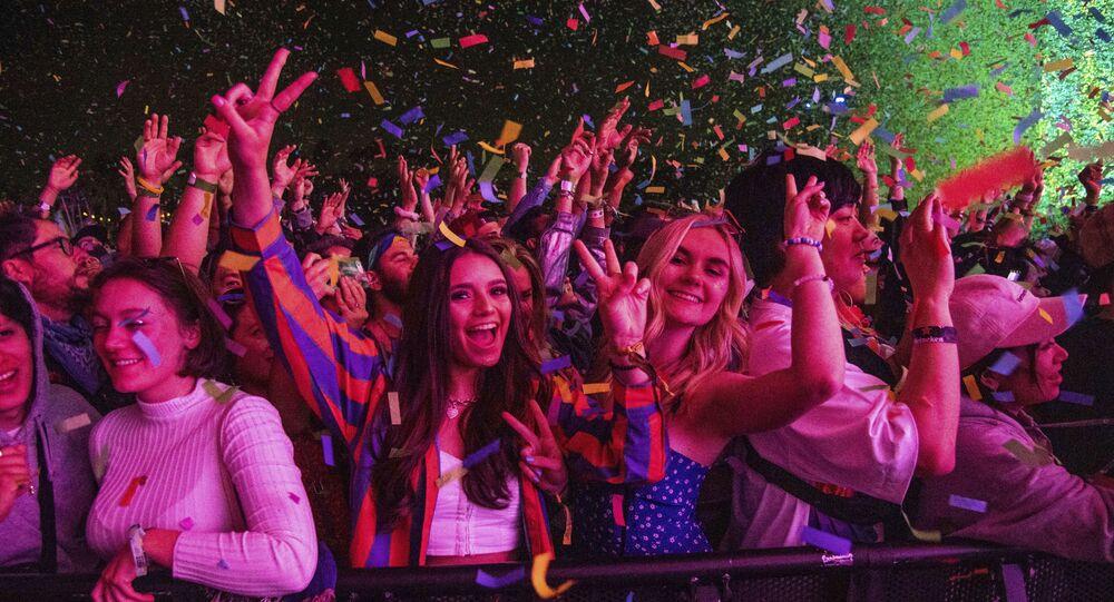 Festival goers attend the Coachella Music & Arts Festival at the Empire Polo Club on Saturday, April 20, 2019, in Indio, Calif