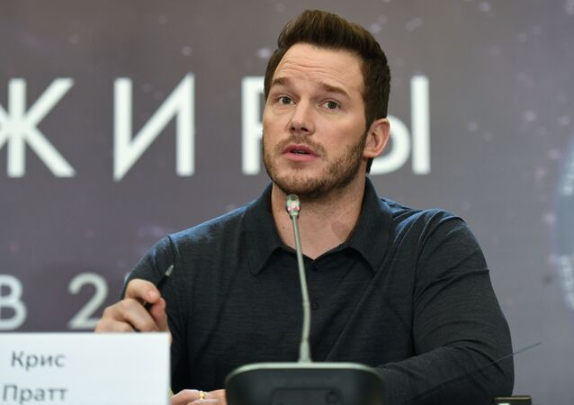 US actor Chris Pratt starring in the Passengers film, at a press conference in Moscow