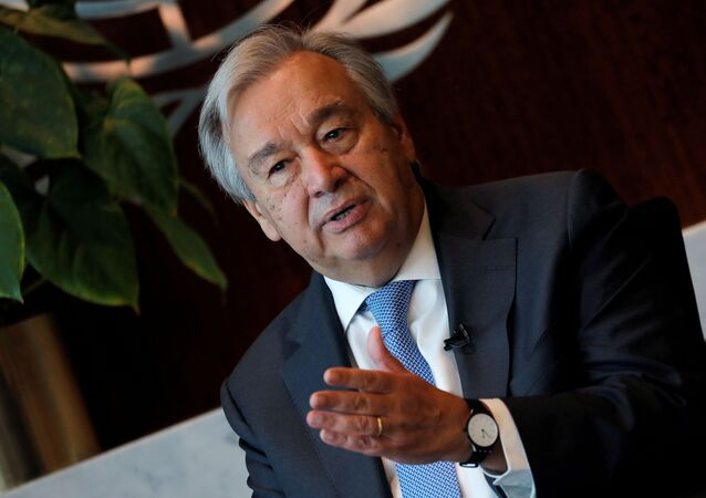 United Nations Secretary-General Antonio Guterres speaks during an interview with Reuters at U.N. headquarters in New York City, New York, U.S., September 14, 2020.