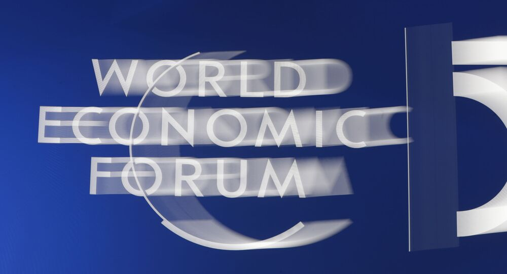 The World Economic Forum logo is seen in Davos, Switzerland, Tuesday, Jan. 21, 2020. The 50th annual meeting of the forum will take place in Davos from Jan. 21 until Jan. 24, 2020.