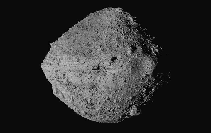 This undated image made available by NASA shows the asteroid Bennu from the OSIRIS-REx spacecraft. After almost two years circling the ancient asteroid, OSIRIS-REx will attempt to descend to the treacherous, boulder-packed surface and snatch a handful of rubble on Tuesday, Oct. 20, 2020.