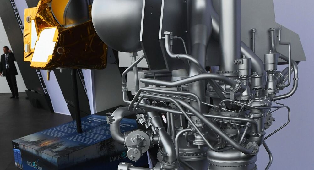 Model of the Prometheus cryogenic rocket engine at the Paris Air Show 2019 in France