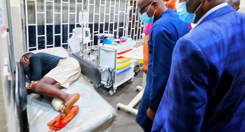 Lagos State Governor Babajide Sanwo-Olu visits injured demonstrators in hospital