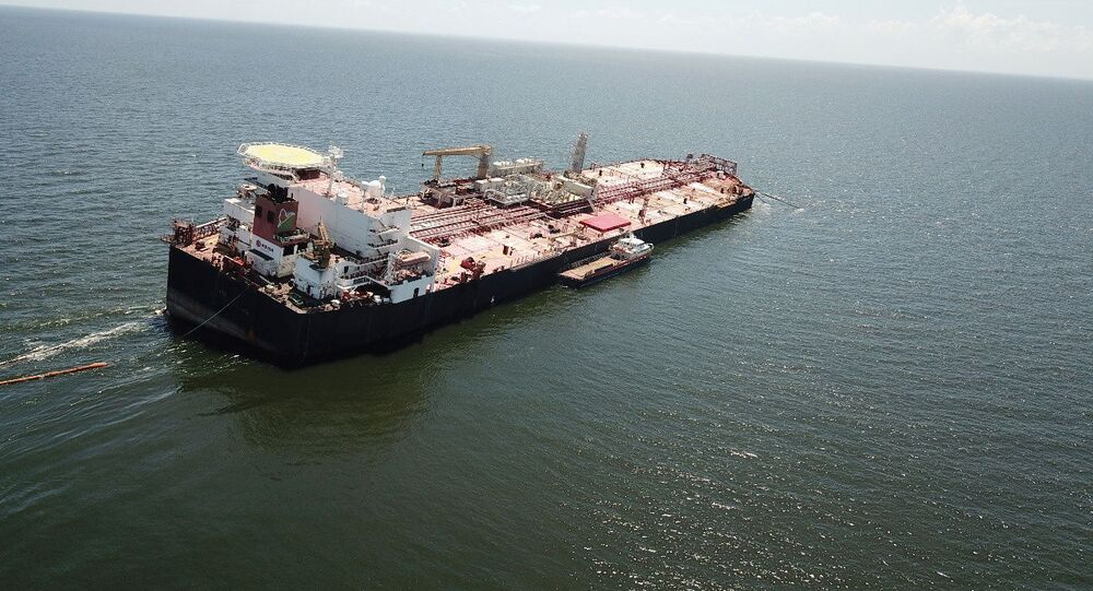 The Nabarima floating storage and offloading (FSO) facility, operated by the Petrosucre joint venture between Venezuelan state oil company Petroleos de Venezuela and Italy's Eni, is seen tilted in the Paria Gulf, between Venezuela and Trinidad and Tobago, 16 October 2020