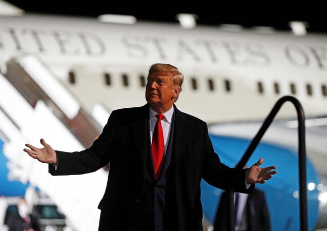 US President Donald Trump holds a campaign rally at Erie International Airport in Erie, Pennsylvania, 20 October 2020