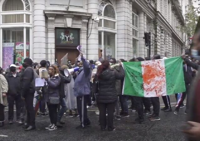 Protest held in London against police brutality in Nigeria.