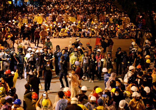 Demonstrators gather during an anti-government protest in Bangkok, Thailand 21 October 2020.
