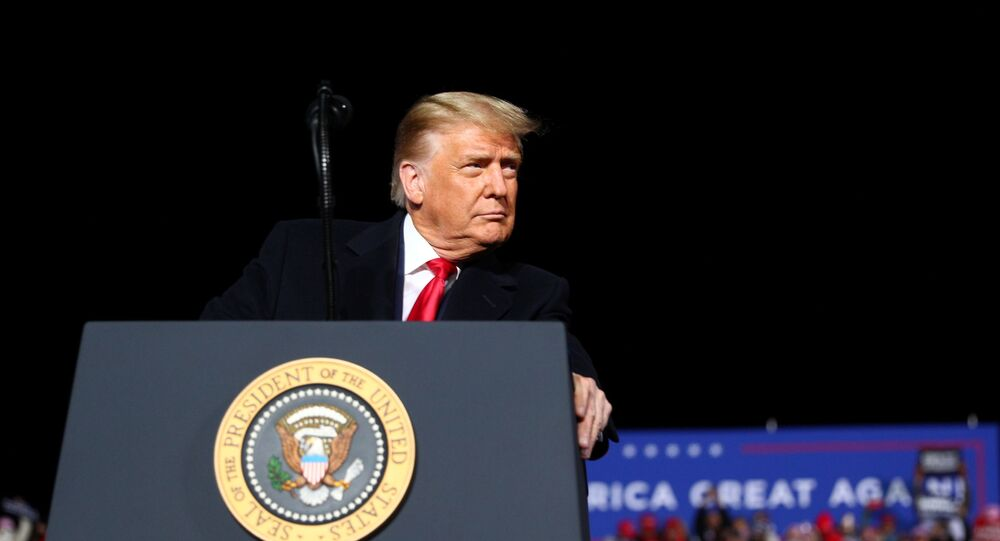 US President Donald Trump holds a campaign rally at Erie International Airport in Erie, Pennsylvania, US, 20 October 2020.