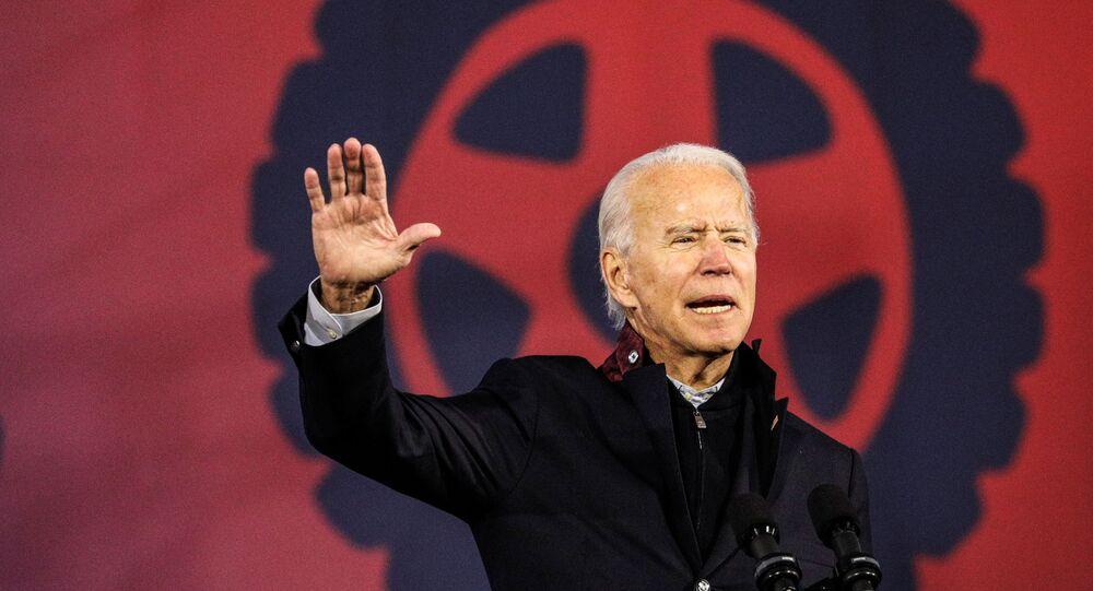 U.S. Democratic presidential candidate Joe Biden speaks during a voter mobilization event at the Michigan State Fairgrounds in Novi, Michigan, October 16, 2020.